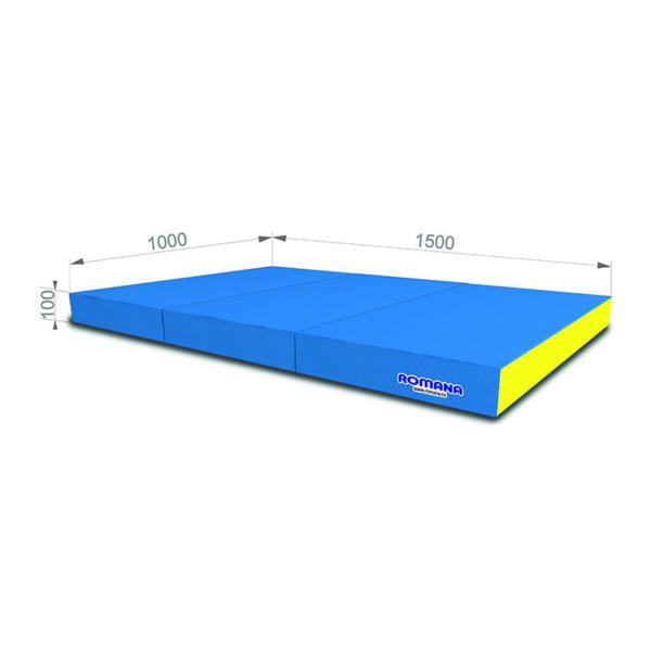 Гимнастический мат РОМАНА Мягкий щит 1000*1500*100 в 3 сложения голубой-желтый