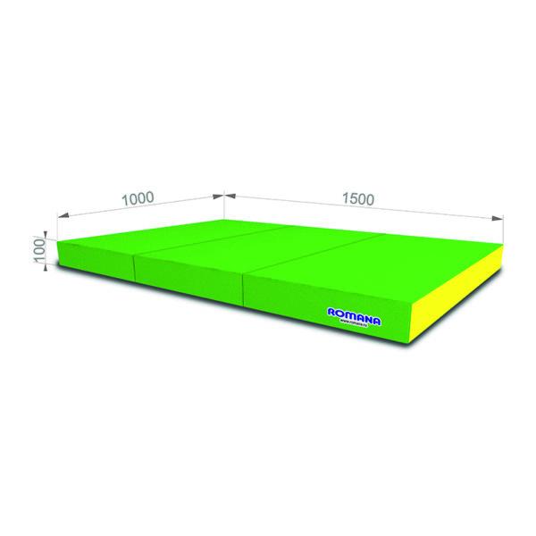 Гимнастический мат РОМАНА Мягкий щит 1000*1500*100 в 3 сложения светло зеленый желтый