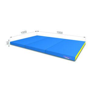 Гимнастический мат РОМАНА Мягкий щит 1000*1500*60 в 3 сложения голубой желтый